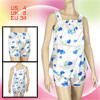 Ladies S Dodger Blue Double Hearts White Sleepwear Shorts Pajamas...