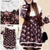 Crochet Round Neck Floral Brown Layered Hem Girls Autumn Dress US...