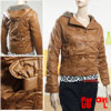 Girls Leopard Pattern Lining Double Breasted Hooded Jacket Brown ...