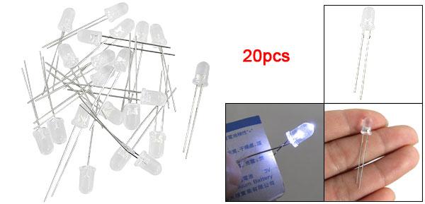 20 Pcs Indicators Bright White LED Emitting Diode Lamp