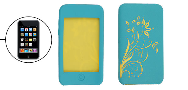 Yellow Floral Pattern Silicone Skin Case Blue for iPod Touch 2G
