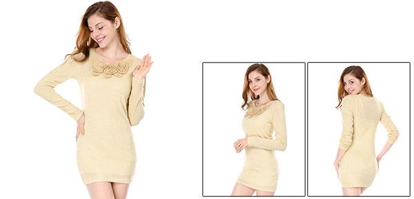 Women Long Sleeves Round Neck Tunic Knit Shirt w Corsage Beige XS