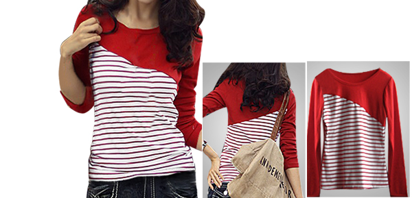 Girls Round Neck Long Sleeves Red White Stretchy Shirt US M