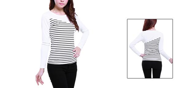 Allegra K Lady Autumn Pinstripe Long Sleeves Shirt Top White XS