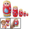 Nesting Girl Red Wooden Russian Matryoshka Doll 5 Pcs