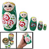 Wooden 5 Pcs Flower Smile Girl Nesting Green Babushka Doll