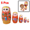 Flower Smile Girl Painting Orange Nesting Russian Dolls 5 Pcs
