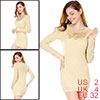 Ladies Round Neck Long Sleeve Long Knit Shirt w Corsage Beige XS