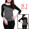 Round Neck Long Sleeve Bar Striped Spring Shirt Top XS for Lady