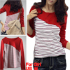 Girls Round Neck Long Sleeves Red White Stretchy Shirt US L