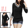 Double-sided Deep V Neck Black Long Sleeve Shirt for Lady S
