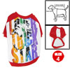 Size L Red White Round Neck Pet Dog Apparel Shirts Coats Pullover...
