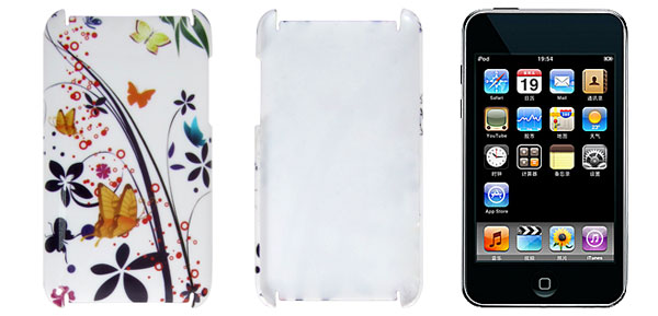 Protective Hard Butterfly Pattern Back Case for iPod Touch 2G 3G