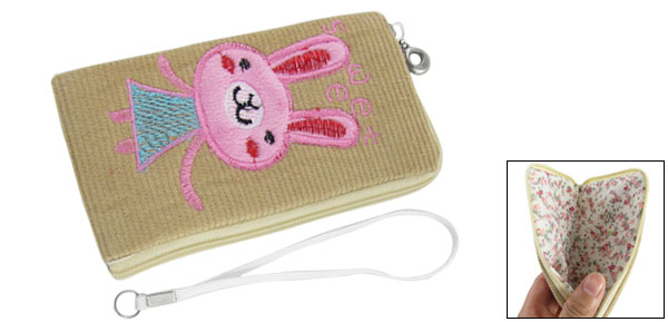 Floral Pattern Lining Beige Bag Holder for Mobile Phone
