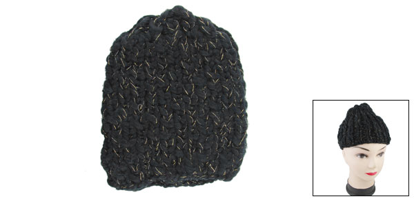 Girl Gold Tone Metalic Thread Detail Black Ribbing Knitted Beanie
