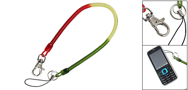 Spring Cord Design Red Yellow Grn Key Chain Phone Strap Clip