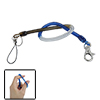 Coil Cord Design Blue Clear Key Chain Strap Rope w Clip