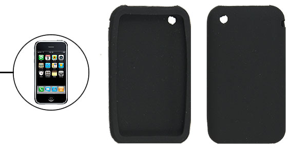 Black Protective Silicone Skin Case for iPhone 3G 3GS