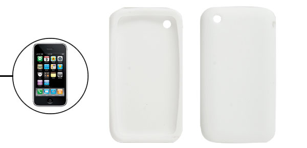 Soft Silicone Solid White Cover for Apple iPhone 3G 3GS