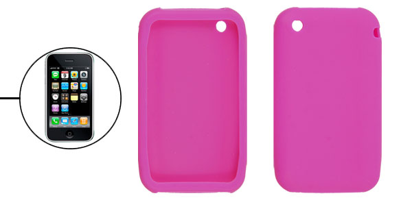 Fuchsia Silicone Protective Case Cover for iPhone 3G 3GS