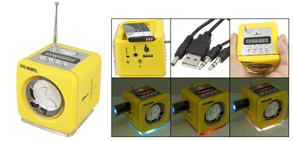 Yellow SD MMC Card Slot Audio Music Speaker FM Radio Box w Retractable Antenna