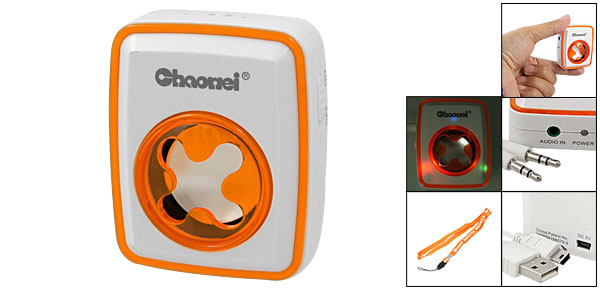 Mini Portable 3.5mm Plug MP3 MP4 Speaker Orange White