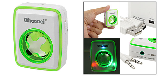 3.5mm Plug MP3 MP4 Mini Speaker Sound Box Green White