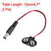2 Pcs 2.1 x 5.5mm Male DC Power Plug to 9V Battery Clip Connector...
