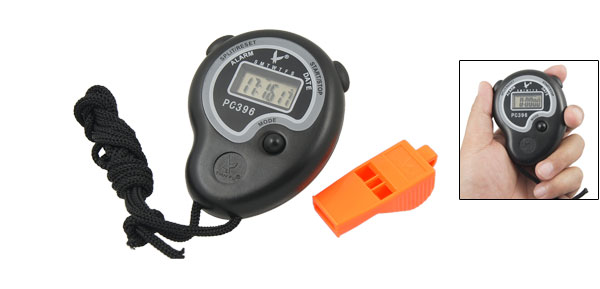 PE Black Hourly Chime Chronograph Stopwatch w Whistle