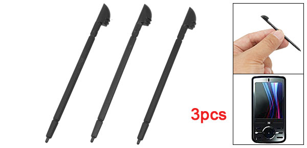 3 Pcs Black Plastic Round Tip Replacing Stylus Pen for O2 Atom V