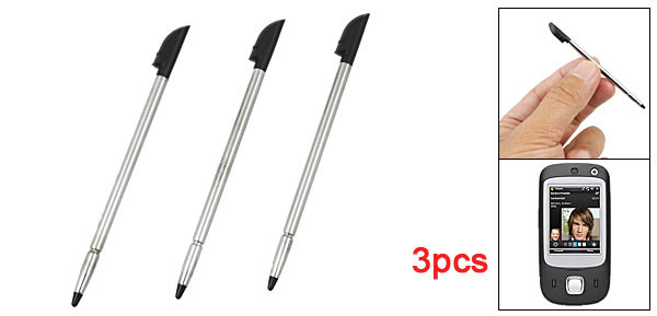3 Pcs Silver Tone Metal Body Black Plastic Tip Stylus Pen for HTC Touch Dual