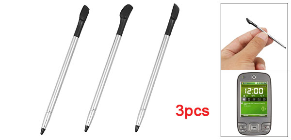 3Pcs Black Silver Tone Metal Touch Stylus Pen for HTC P3400