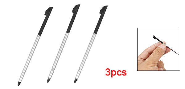 3Pcs Silver Tone Alloy Black Plastic Stylus Writing Pen for Cell Phone