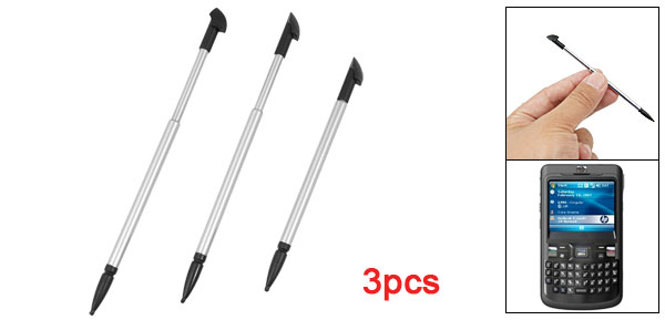Silver Tone Alloy Black Tip Touch Screen Stylus Pen 3PCs for HP IPAQ 912