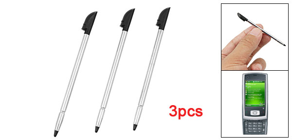 3 Pcs Replacing Screen Touch Silver Tone Black Stylus Pen for Dopod P5500