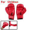 Children Faux Leather Sponge Padded Sparring Boxing Gloves Red
