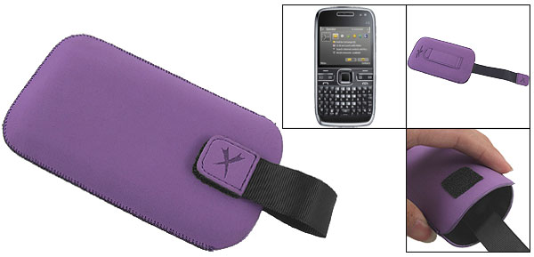 Purple Faux Leather Vertical Belt Loop Pouch for Nokia E72