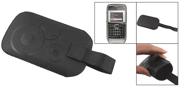 Black Faux Leather Circles Pull Tab Pouch for Nokia E71