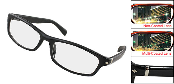 Rhombus Detail Black Full Rim Multi Coated Lens Plano Glasses for Men