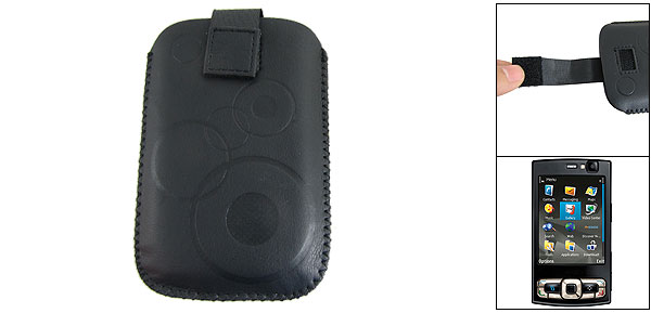 Black Flannel Lining Faux Leather Pull Up Case for Nokia N95 8GB