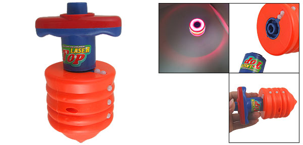 Orange Red Blue Plastic Flash Light Spinning Peg Top Toy w Emitter