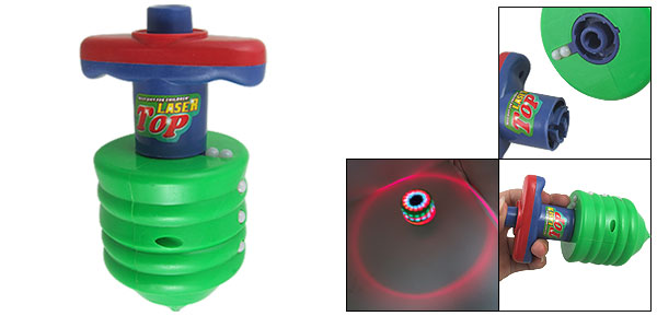 Red Green Blue Flash Light Music Sound Plastic Peg Top Toy w Emitter