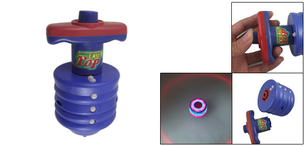 Blue Red Plastic Peg Top Flash Light Spinning Toy for Children