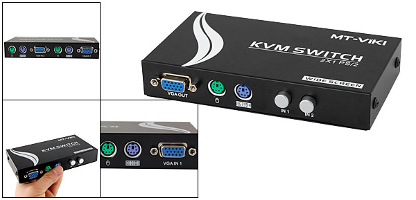 PC Computer 2 VGA 4 PS/2 Ports Input KVM Switch Box Blk