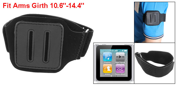 Black Flannel Faux Leather Sport Ventilated Armband for iPod Nano 6