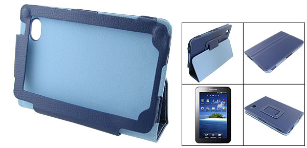 Blue Faux Leather Magnetic Closure Case Pouch for Sumsung Galaxy Tab P1000