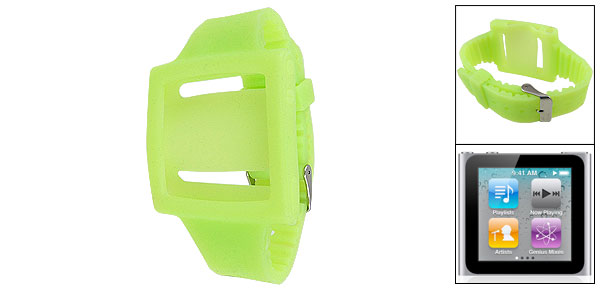 Adjustable Silicone Green Wrist Watch Band for iPod Nano 6