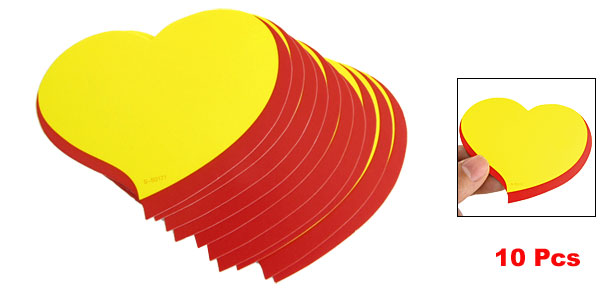 10 Pcs Yellow Red Heart Shaped Retail Store Advertising Sign Paper