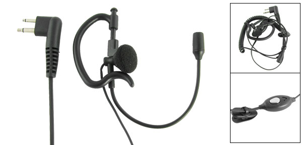 Black Ear Hanger Headset w Microphone for Motorola Radios