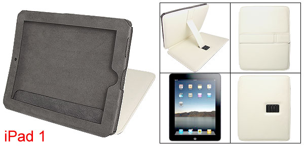 Off White Faux Leather Flannel Inner Cover w Stand for Apple iPad 1